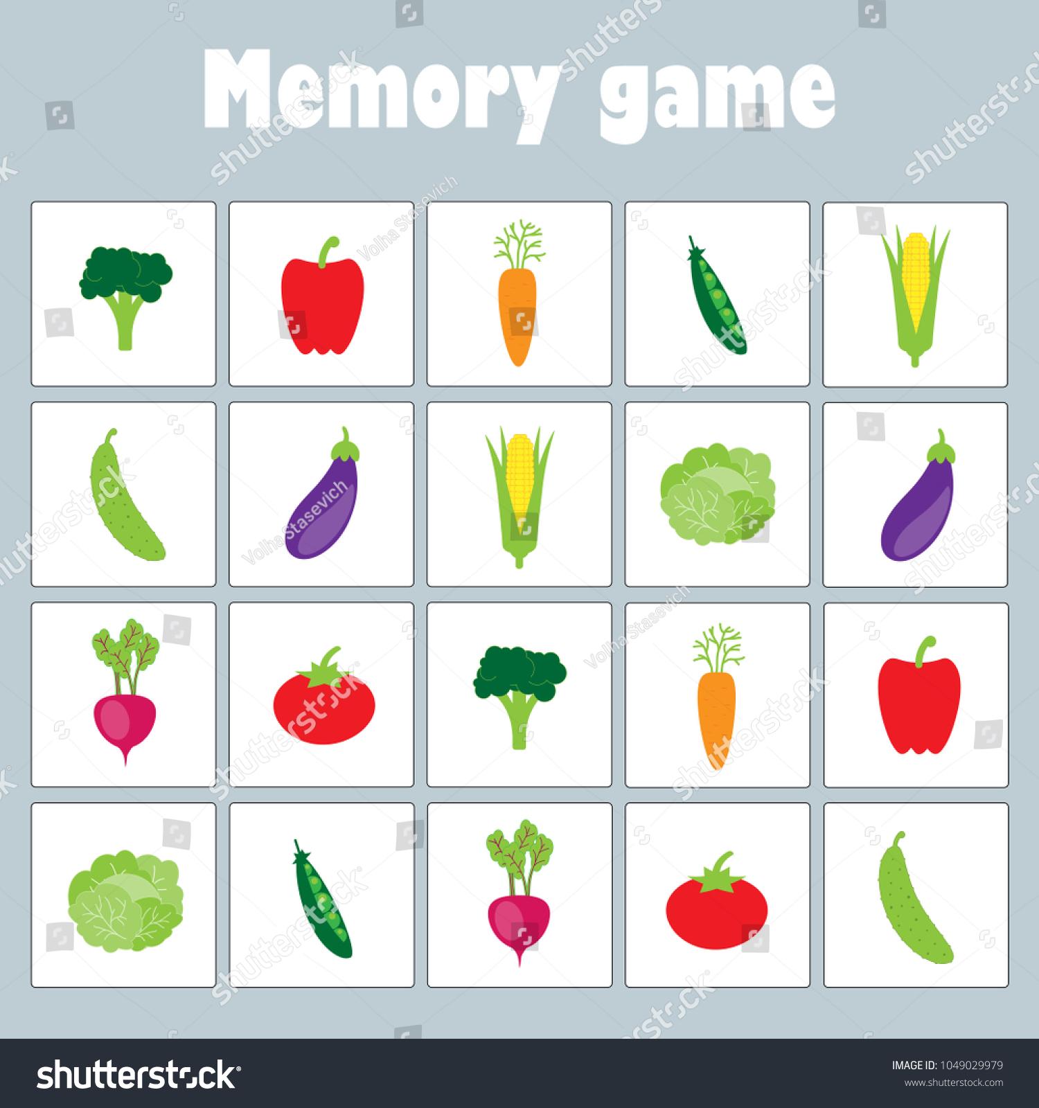 memory game pictures different vegetables children のベクター画像
