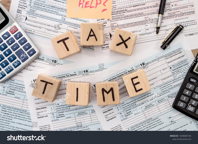 Tax Form Wooden Cubes Sticker Pen Stock Photo (Edit Now