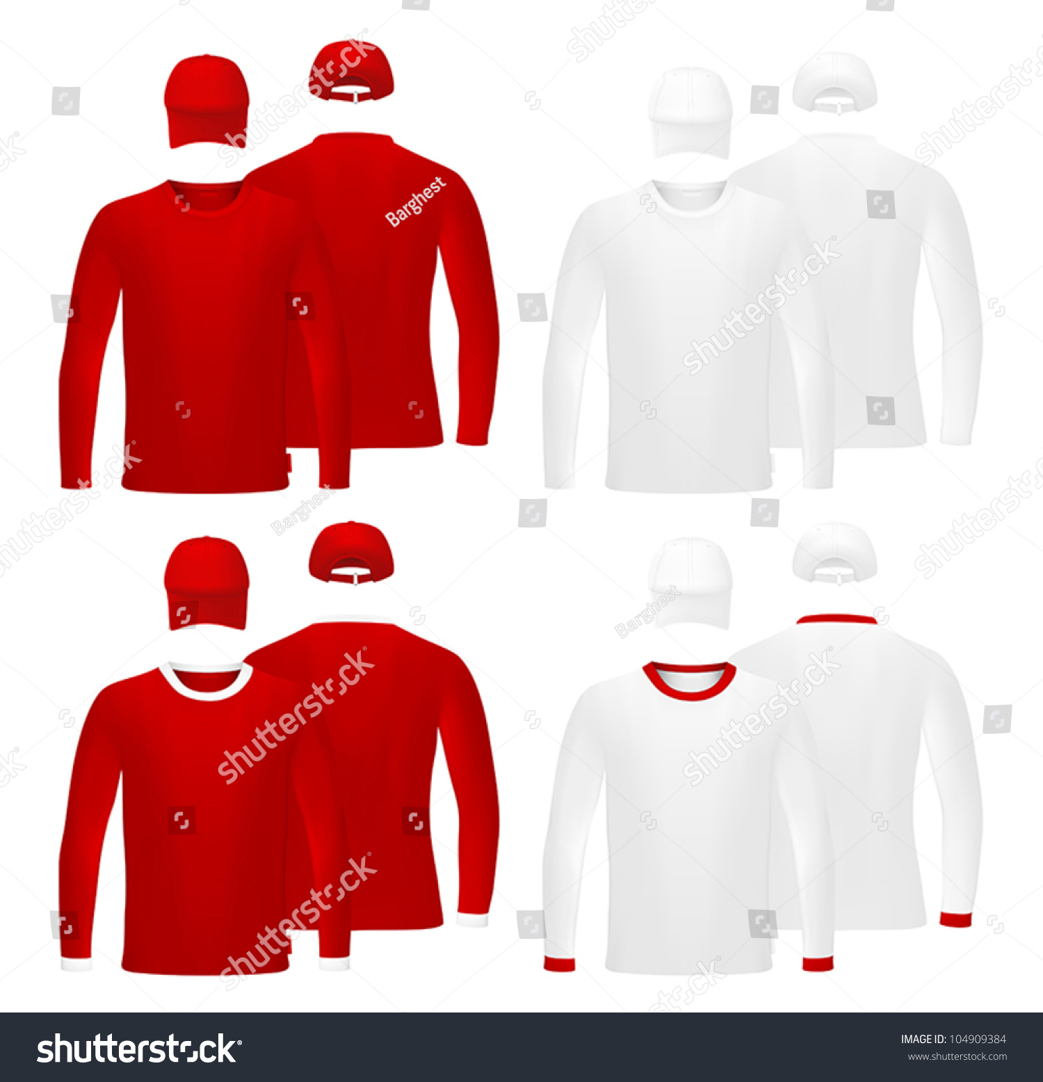 template set long sleeve red blank tshirts and hats