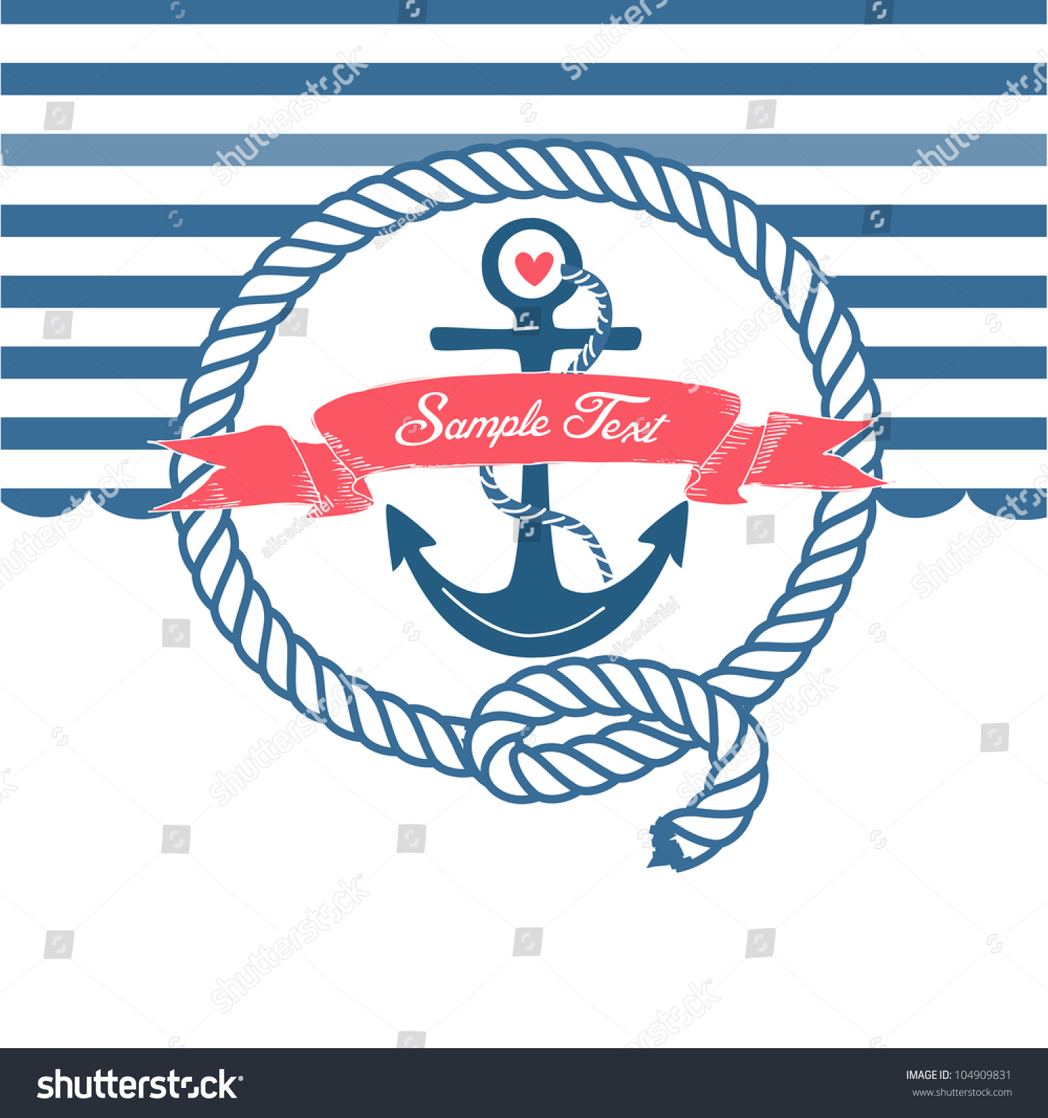 Cute Nautical Background Anchor Rope Flag Stock Vector ...