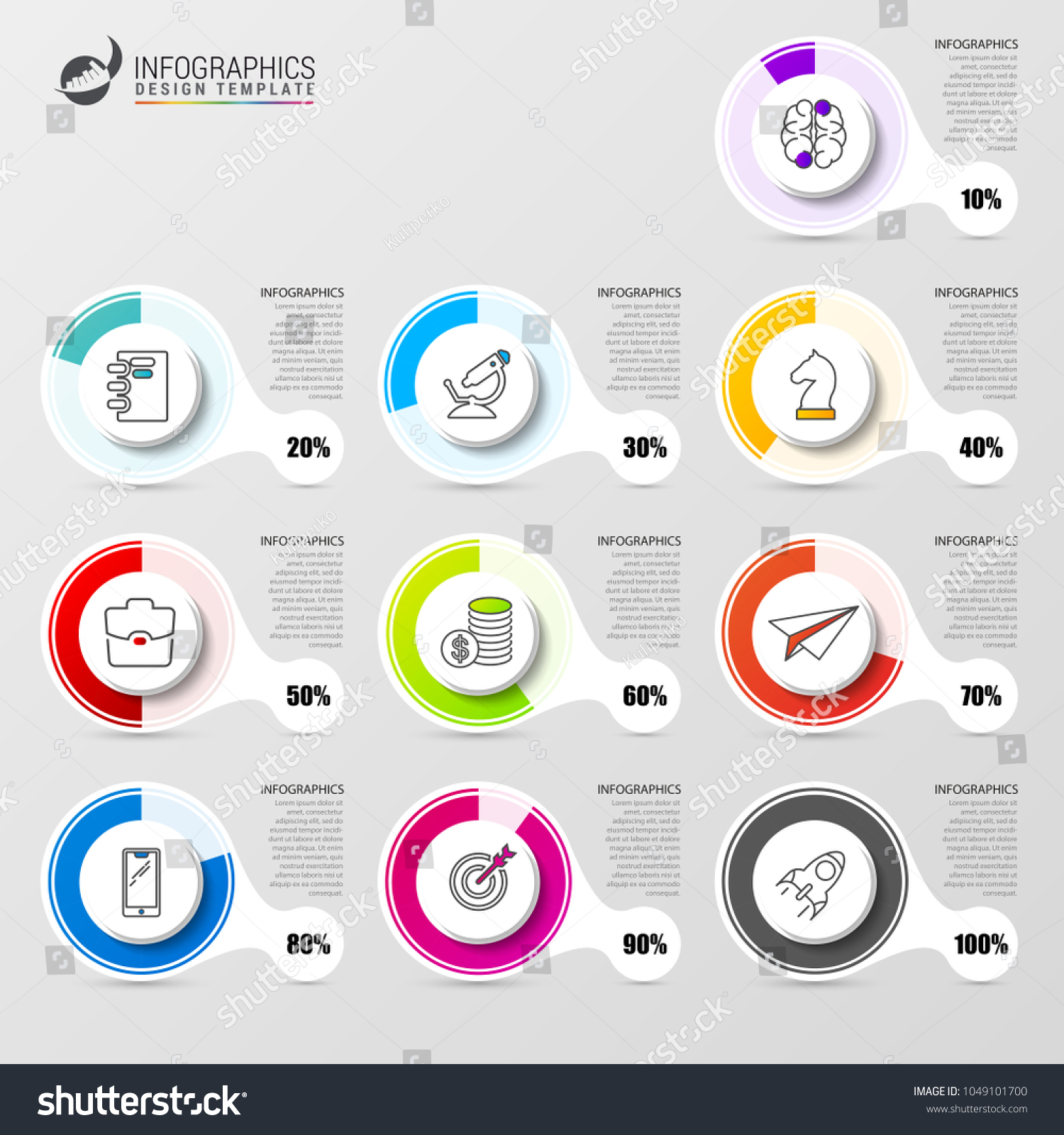 Percentage diagram infographic design template icons stock vector percentage diagram infographic design template with icons vector illustration ccuart Choice Image