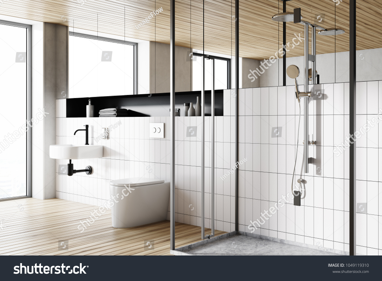 Corner Modern Bathroom White Tiled Walls Stock Illustration ...