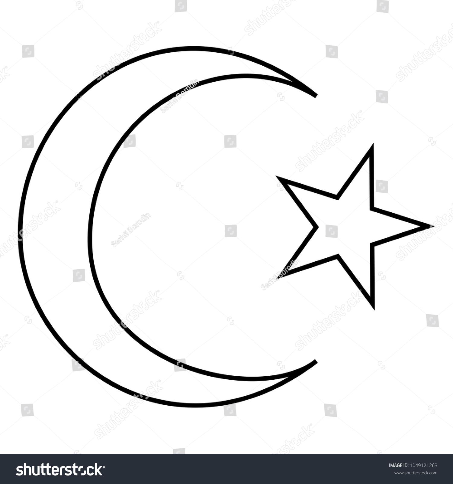Symbol islam crescent star five corners stock vector 1049121263 symbol of islam crescent and star with five corners icon black color buycottarizona Gallery