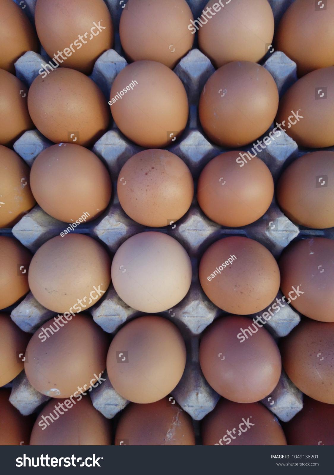 Organic Eggs On Display Farmers Market Stock Photo (Edit Now
