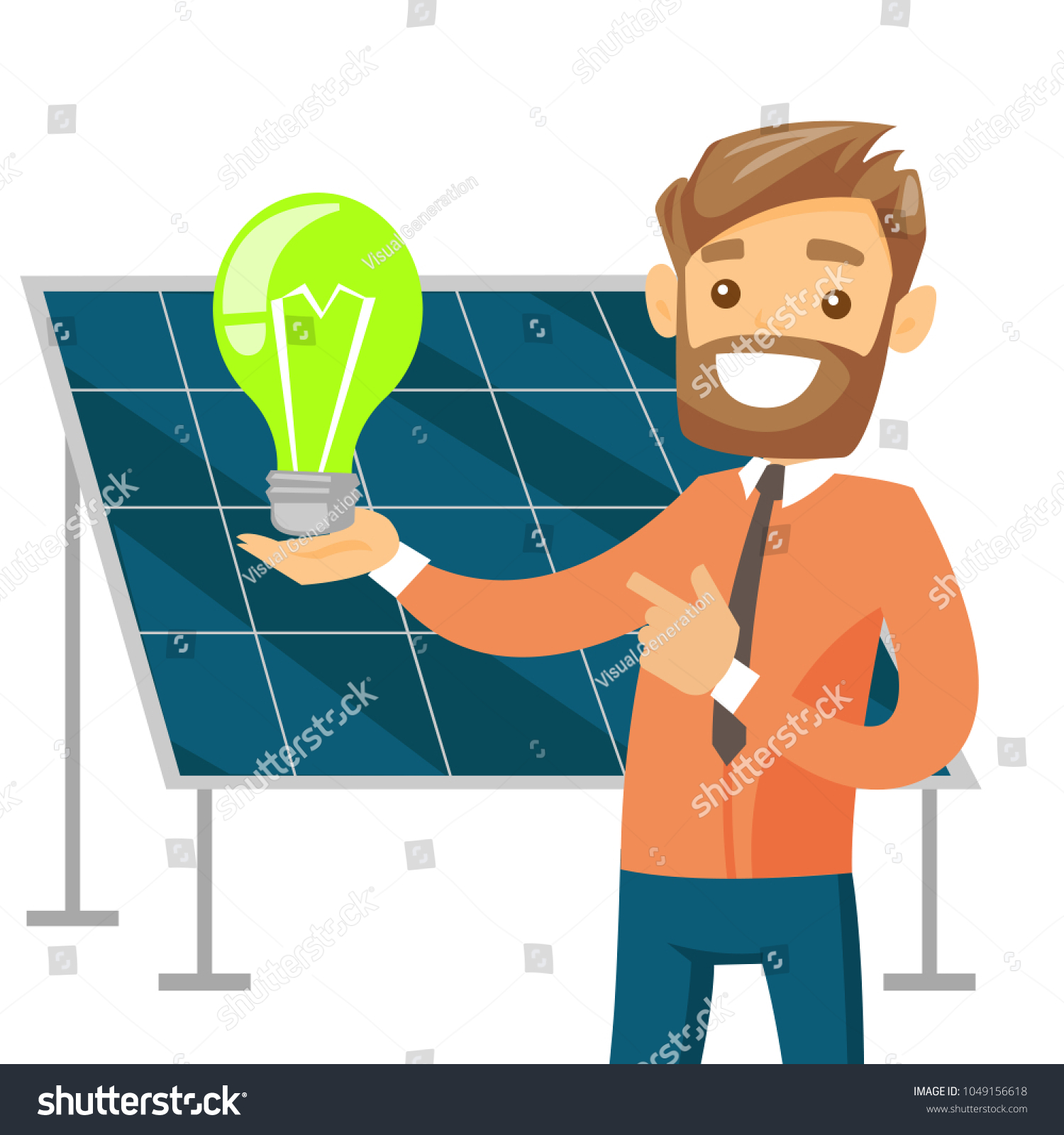 Caucasian White Engineer Solar Power Plant Stock Vector Royalty Engineering Layout Of Holding Lightbulb On The Background Panel