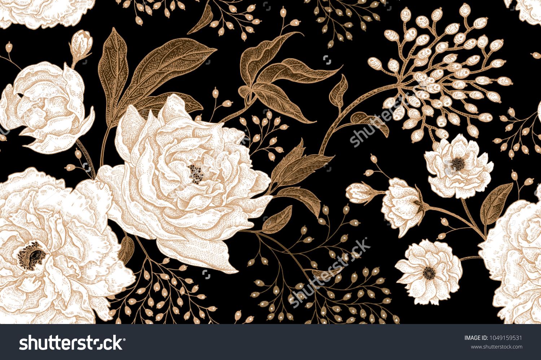 Peonies Roses Floral Vintage Seamless Pattern Stock Vector Royalty