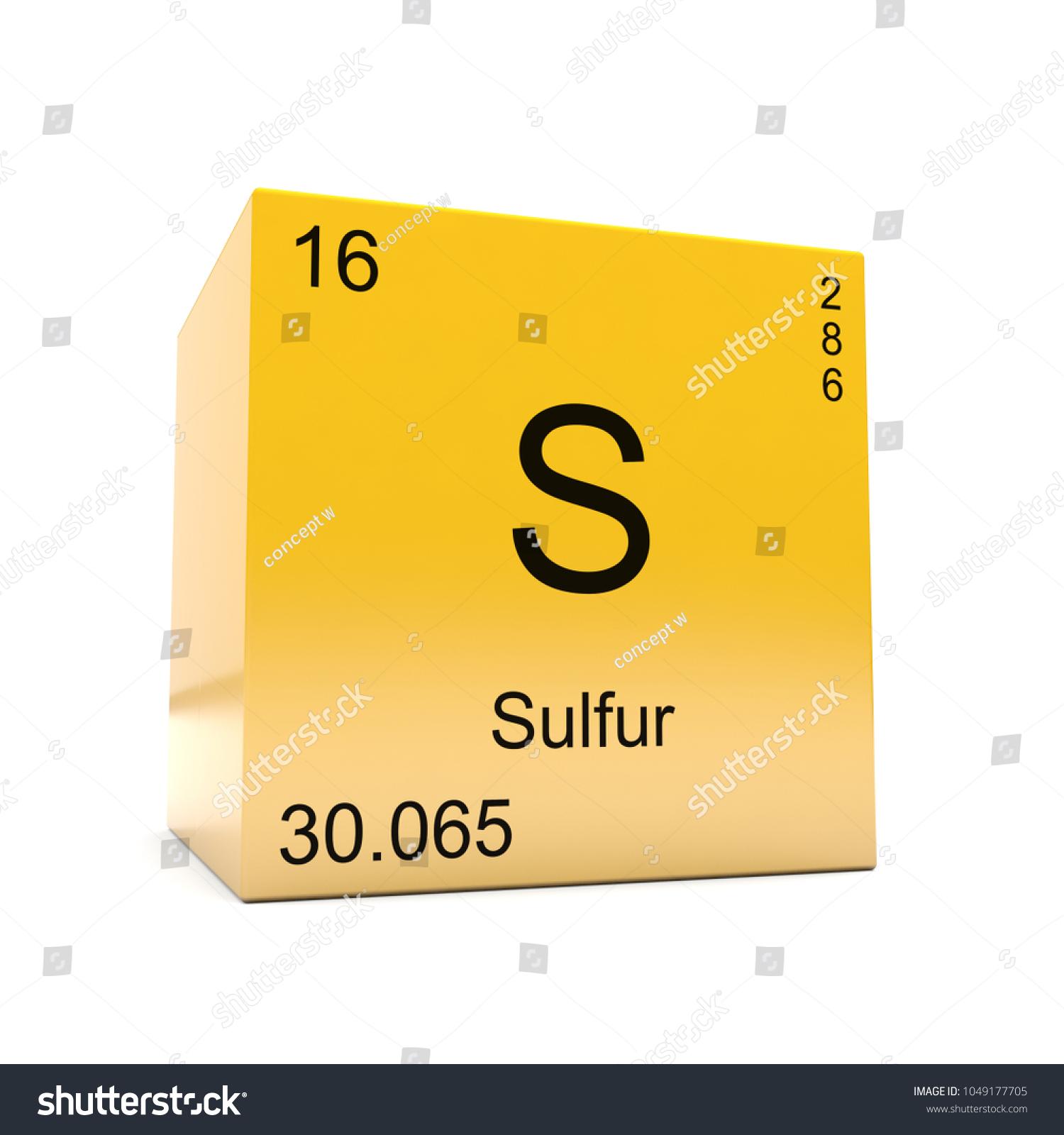 Sulfur Chemical Element Symbol Periodic Table Stock Illustration