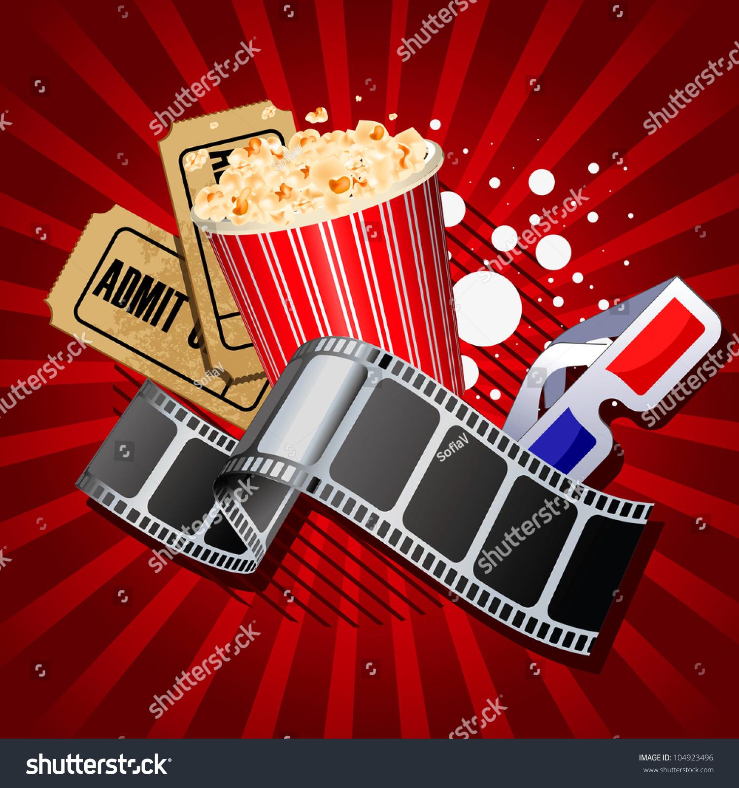 illustration movie theme objects on red stock illustration