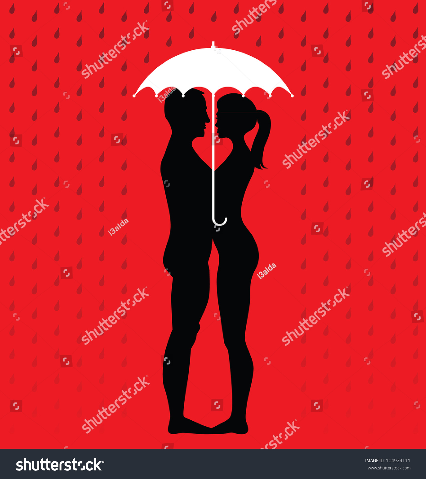 Silhouette Of Young Couple Under An Umbrella, Standing In