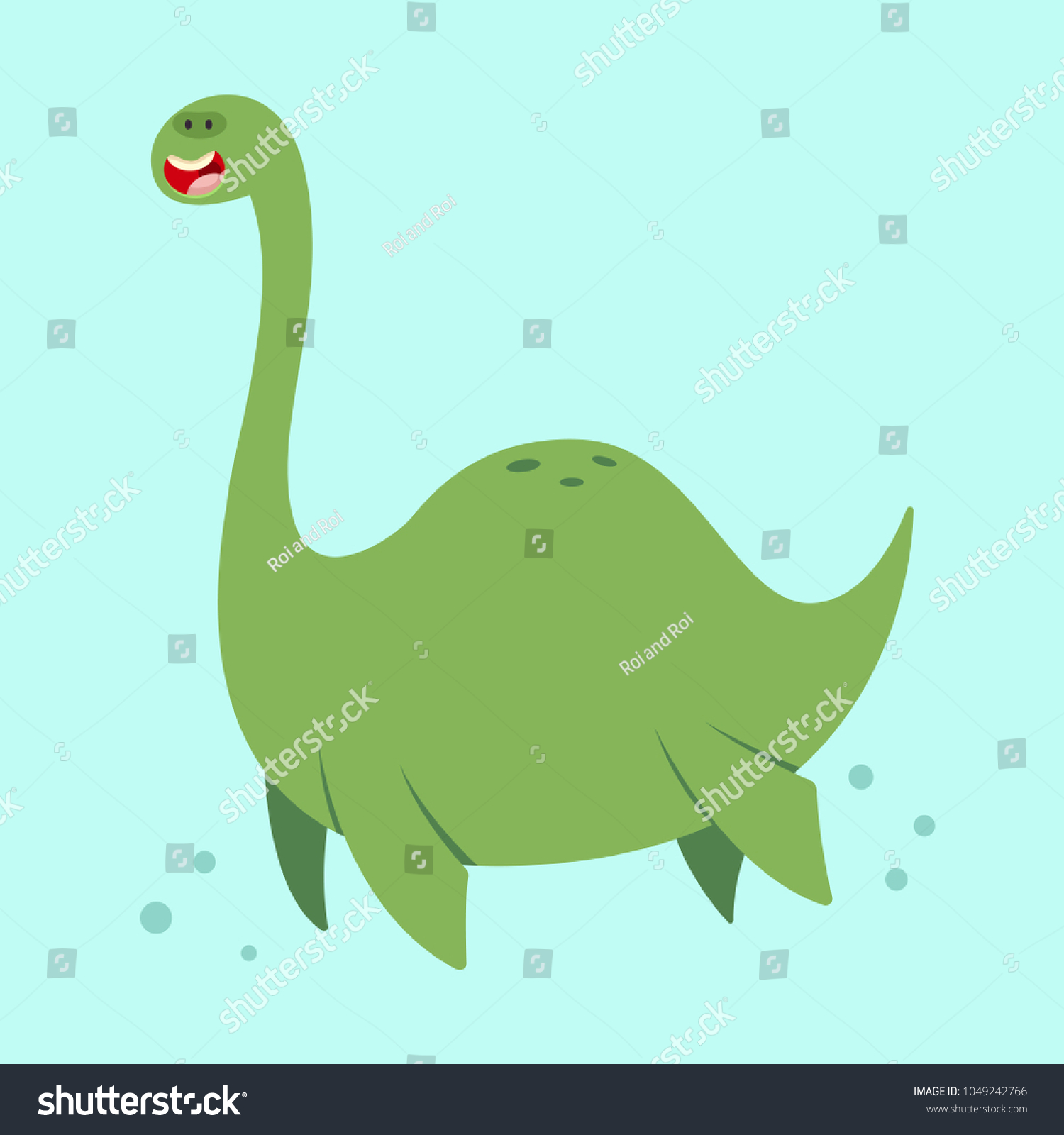 Cute Cartoon Loch Ness Monster Vector Stock Vector Royalty Free 1049242766