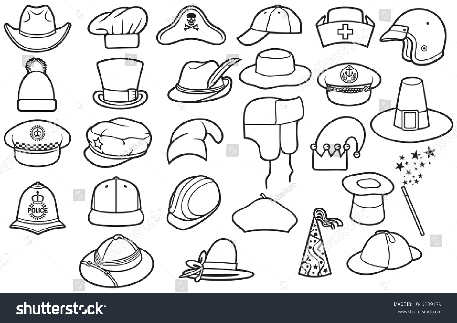 Different Types Hats Thin Line Icons Stock Vector (Royalty Free ... 50560557702d