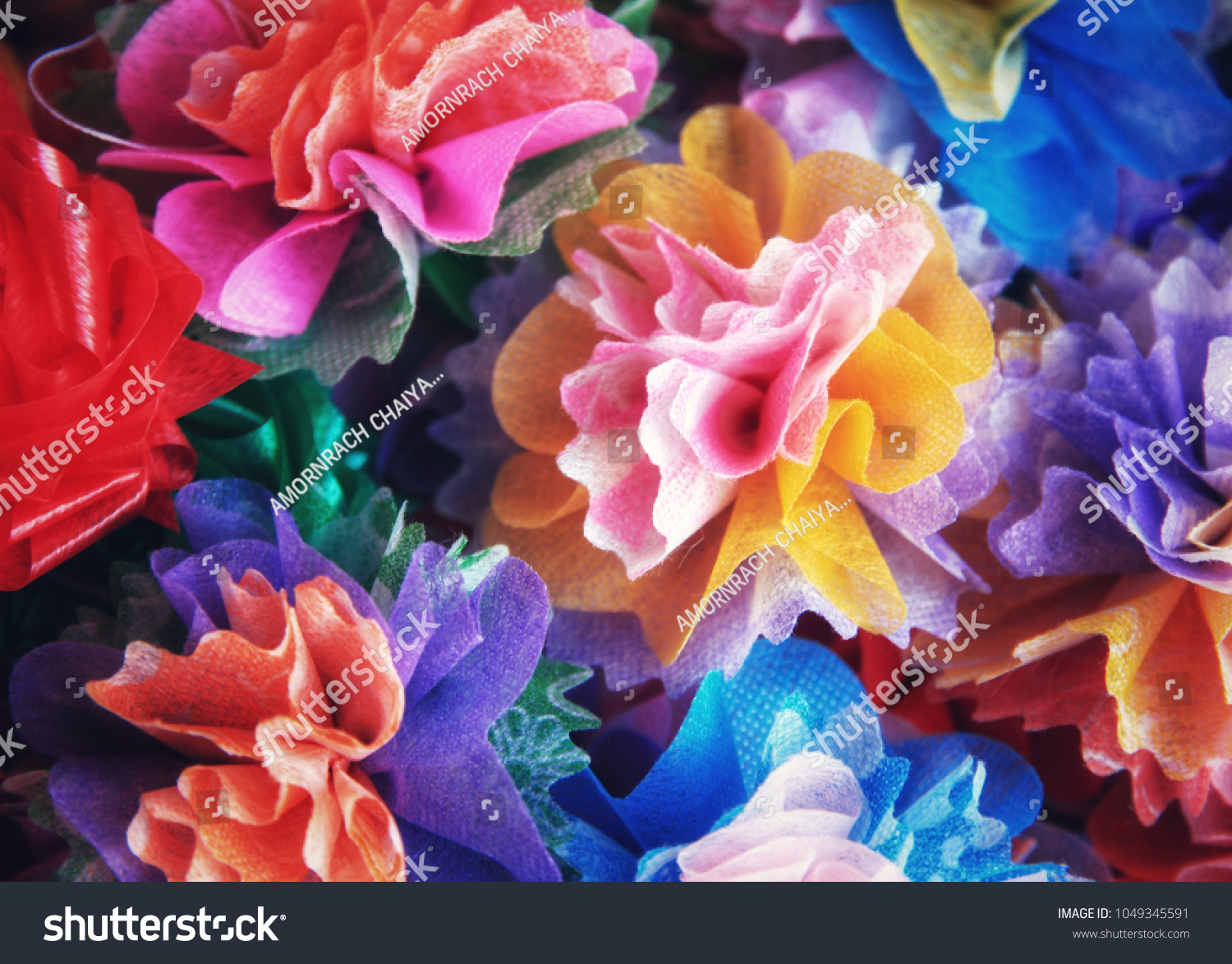 Close colorful ribbon flowers coins folding stock photo royalty close up colorful ribbon flowers and coins folding with mulberry paper for giving alms to make izmirmasajfo