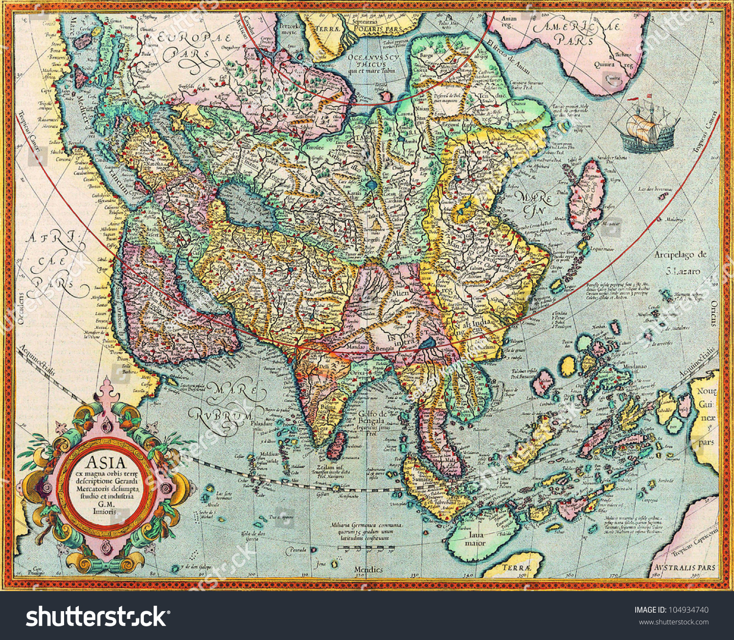 Map Asia Names Cities Countries On Photo 104934740 – Asia Map with Country Names