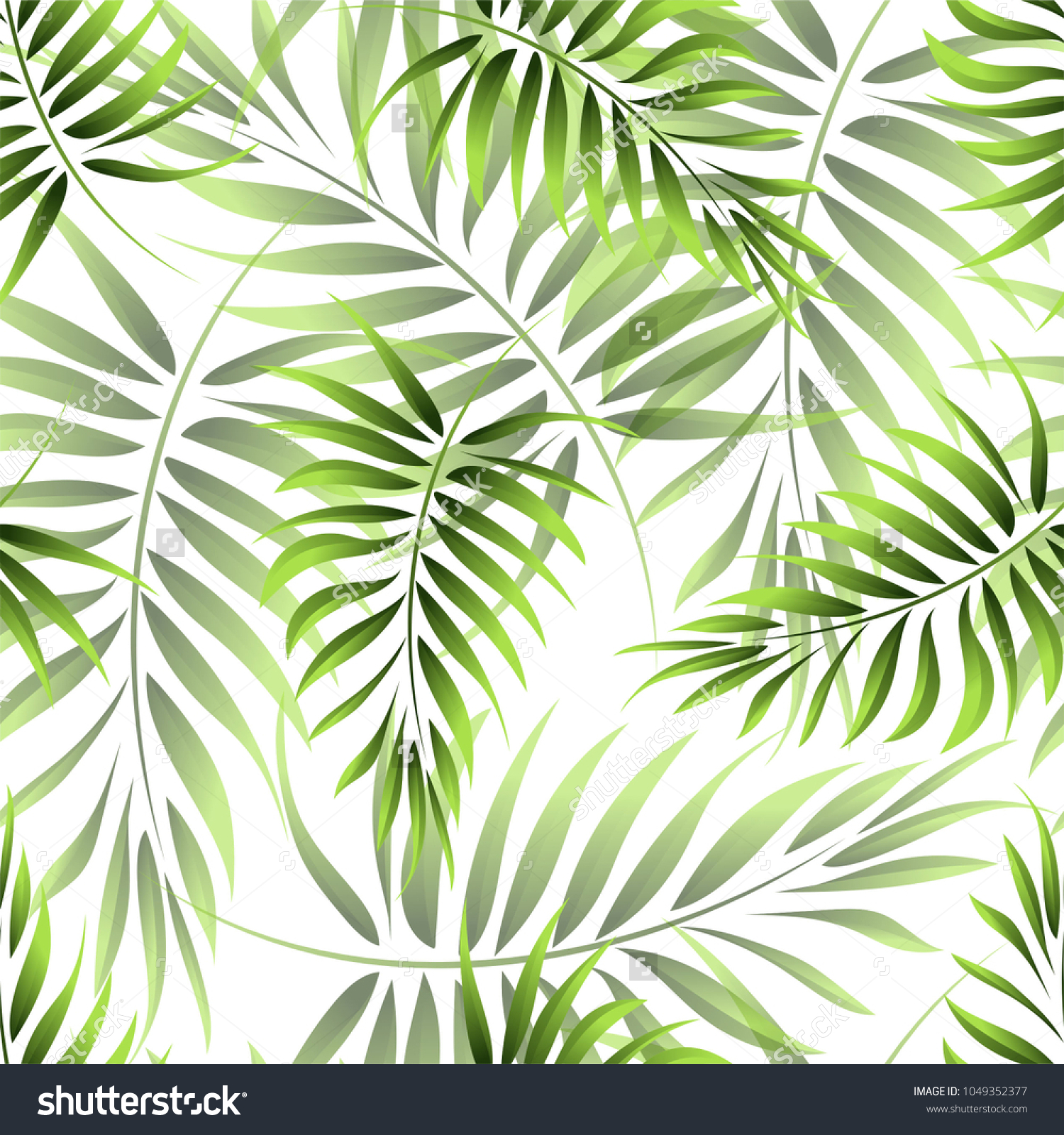 tropical pattern with large green monstera leaves on white