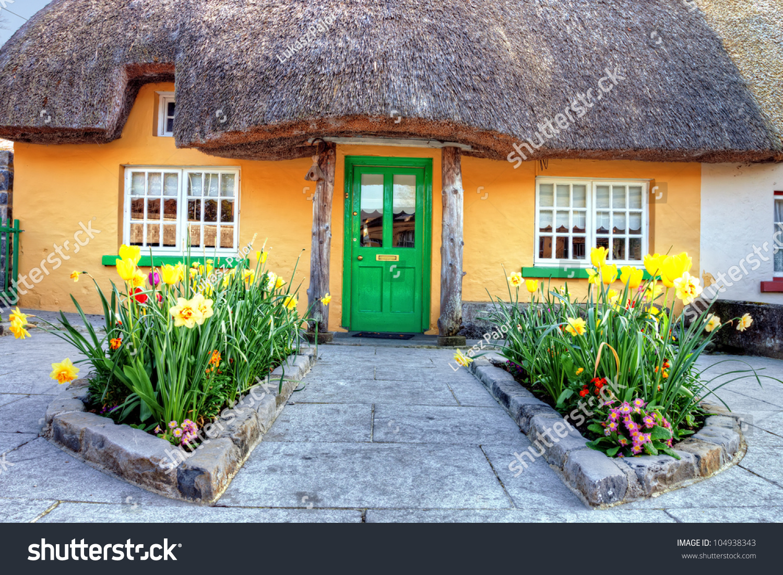 Irish traditional cottage house adare ireland stock photo for Adare house