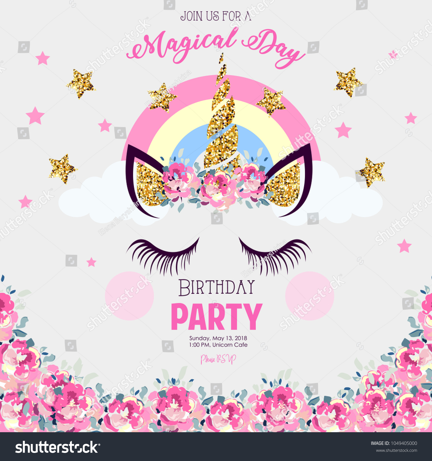 Birthday Party Invitation Unicorn Stock Illustration 1049405000 ...