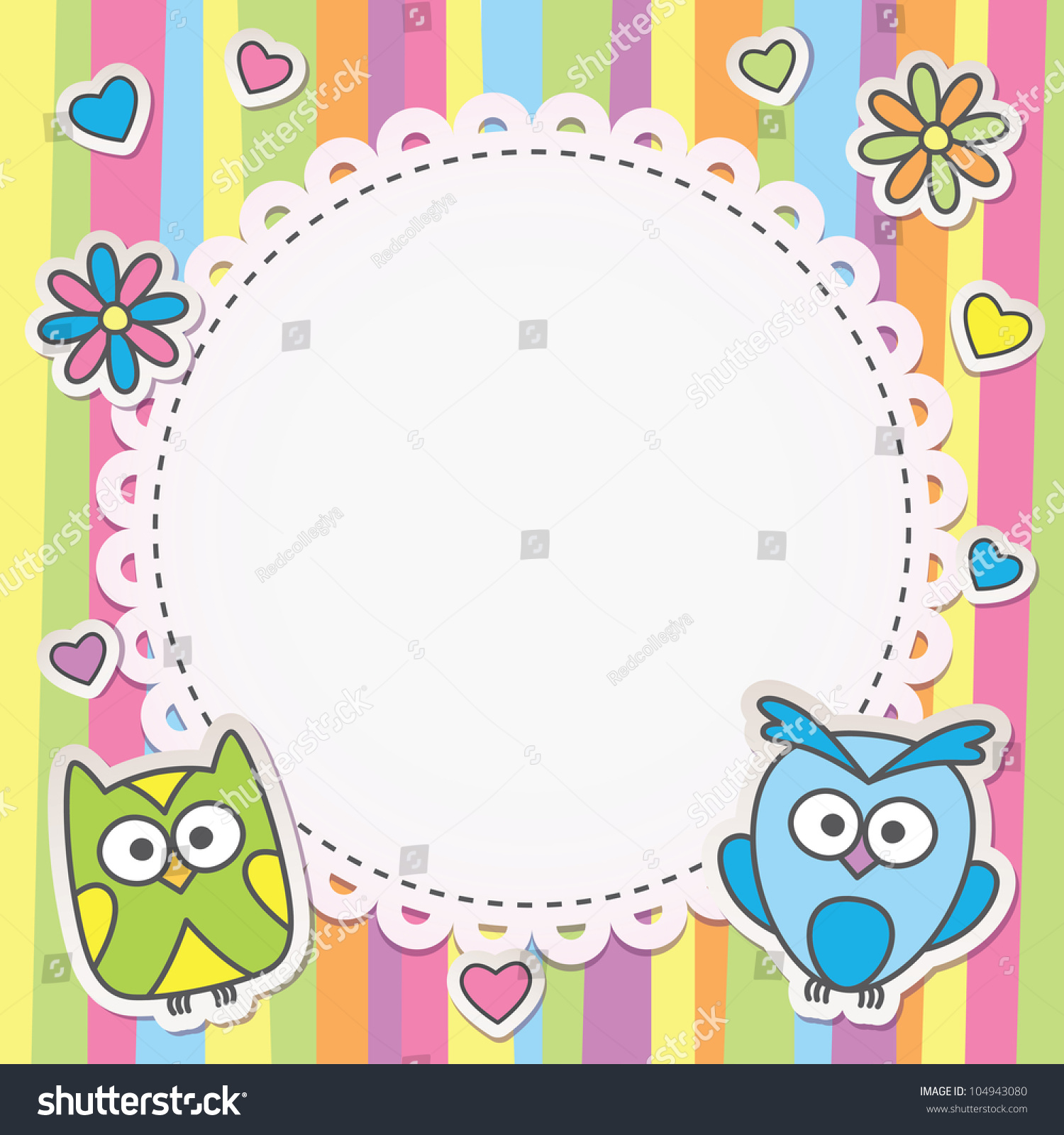 Cute Frame Cartoon Owls On Striped Stock Vector 104943080 - Shutterstock