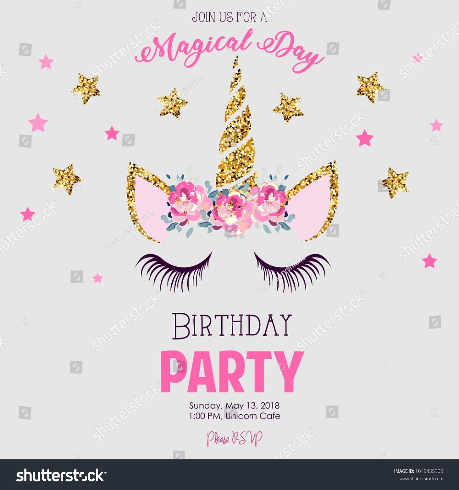 Birthday Party Invitation Unicorn Stock Illustration 1049435300 ...