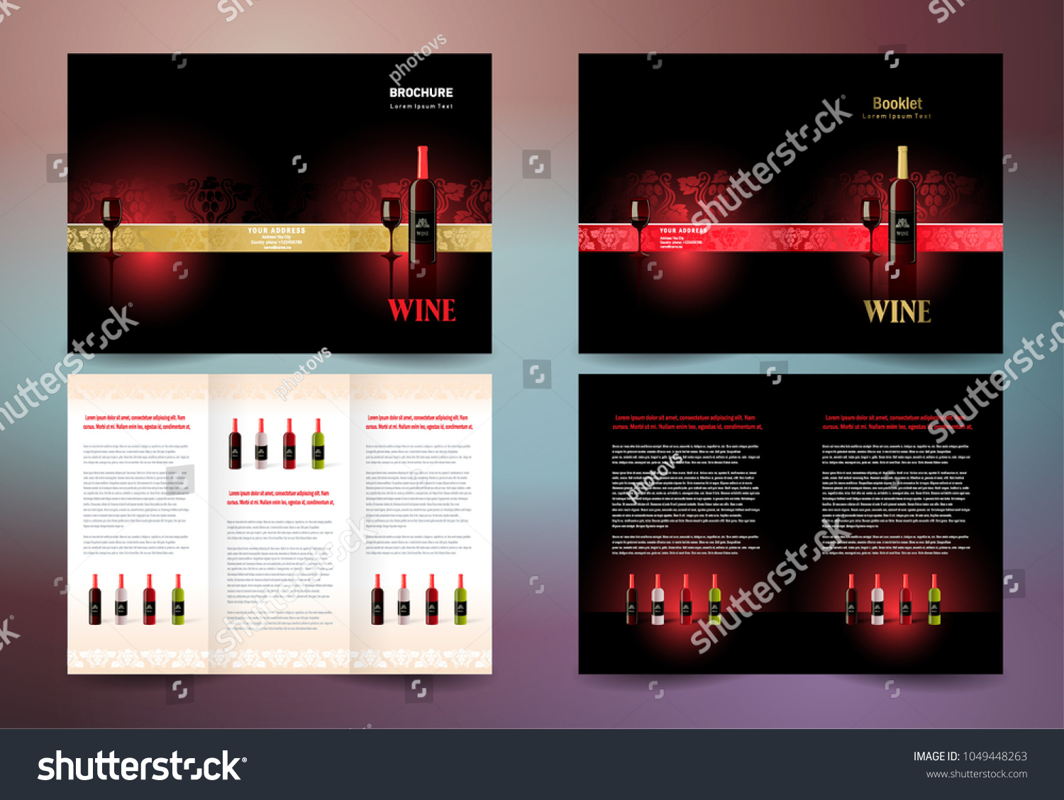 Wine Brochure Set Design Template Trifold Stock Vector Royalty Free