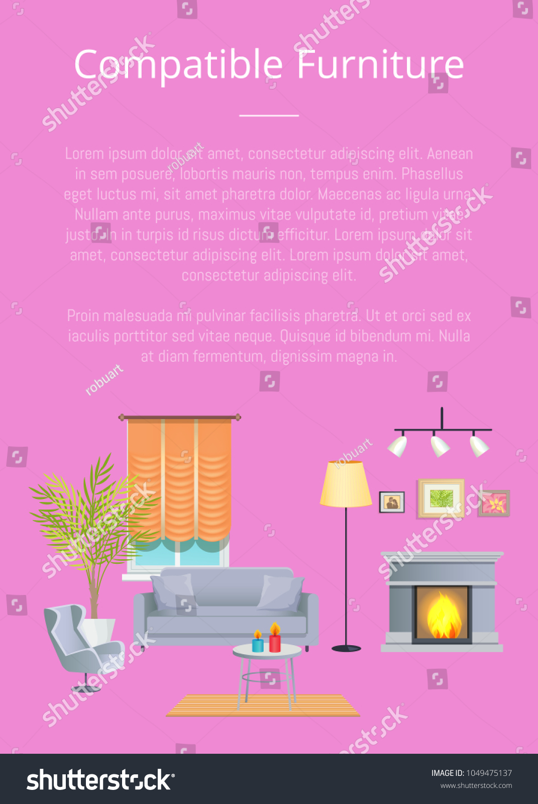 compatible furniture. Compatible Furniture Poster With Headline And Text Sample, Sofa Table Cup Candles B