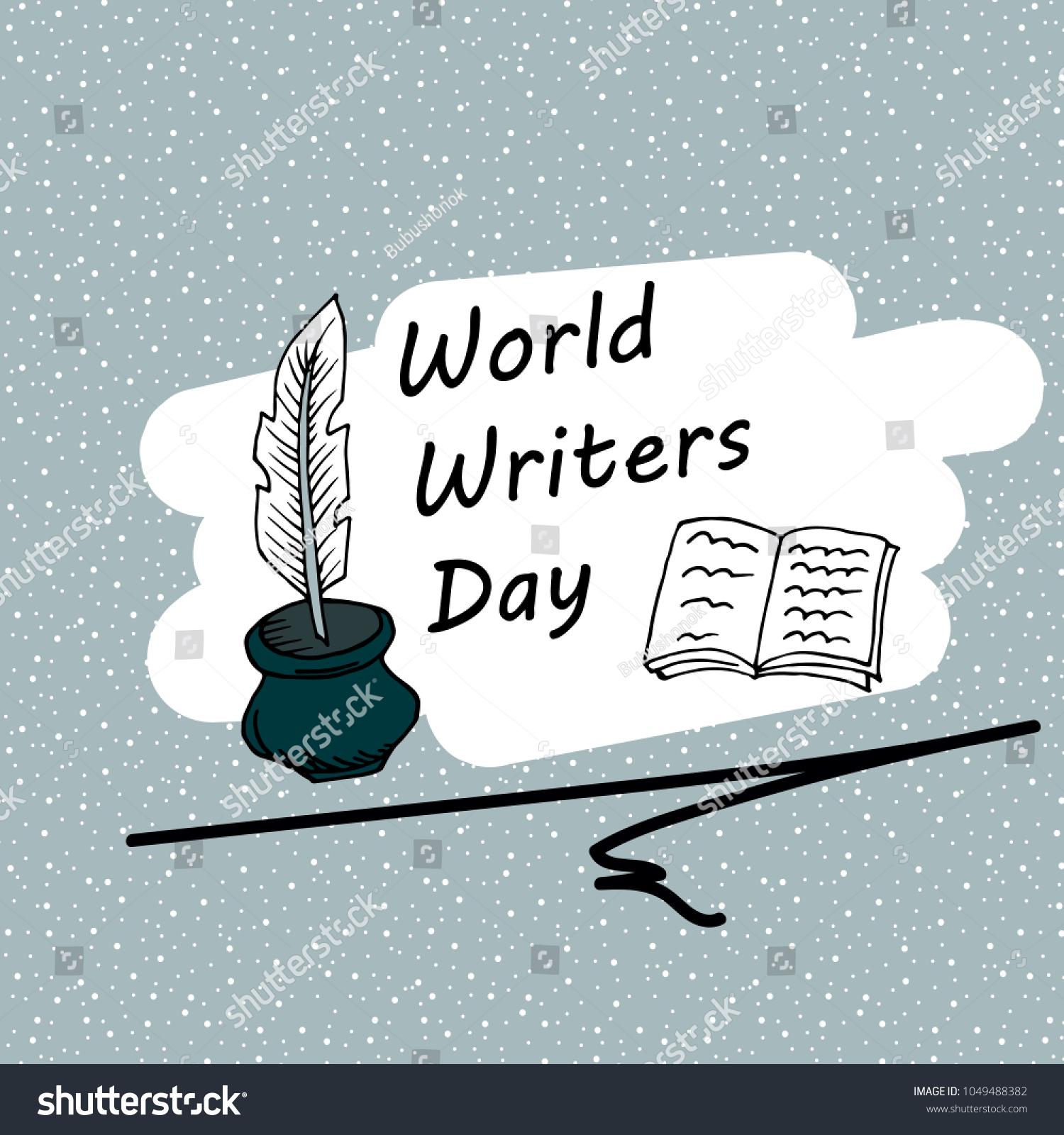 Festive Pattern World Writer Day Postcard Stock Vector 1049488382