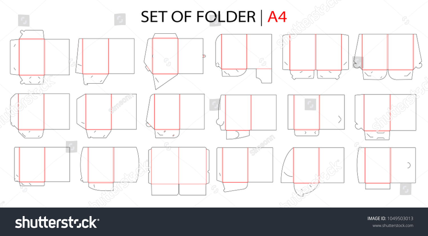 Folder set gusset die cut stamp em vetor stock 1049503013 shutterstock folder set with gusset die cut stamp empty shablon template for a4 documents and business reheart Choice Image
