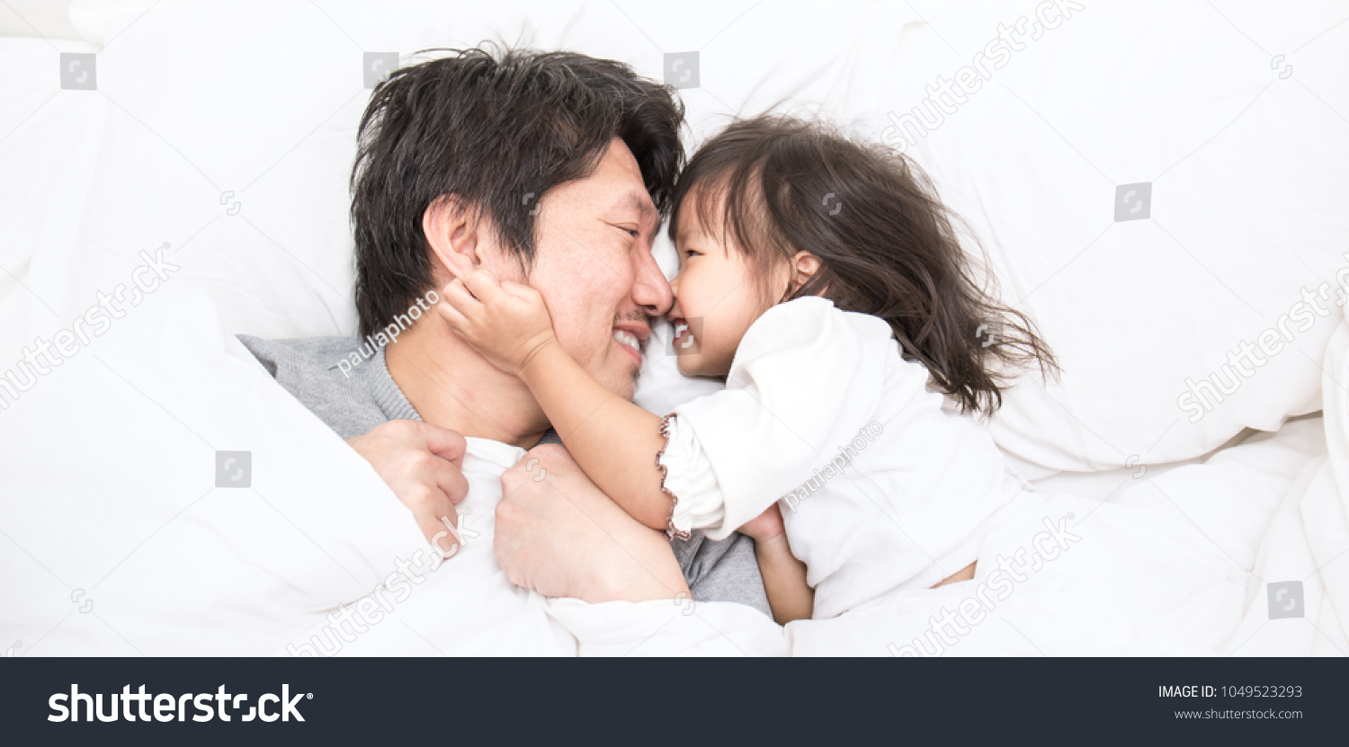 Father Daughter Laughing Bonding Bed Daddy Stock Photo Edit Now