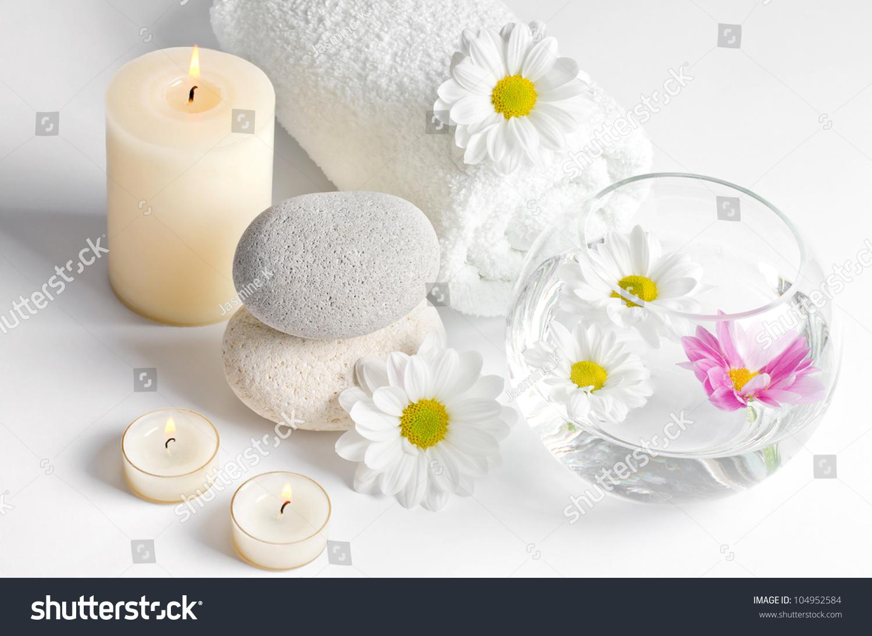 spa decoration chrysanthemum flowers candles spa stock photo