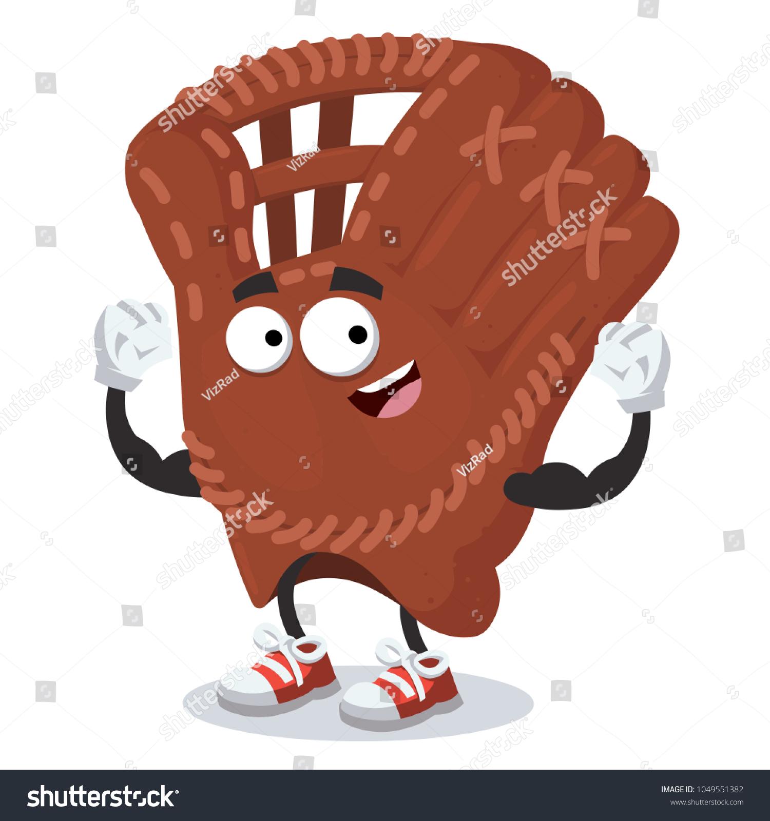 Cartoon Baseball Glove Mascot Shows Strength Vector de stock (libre ...