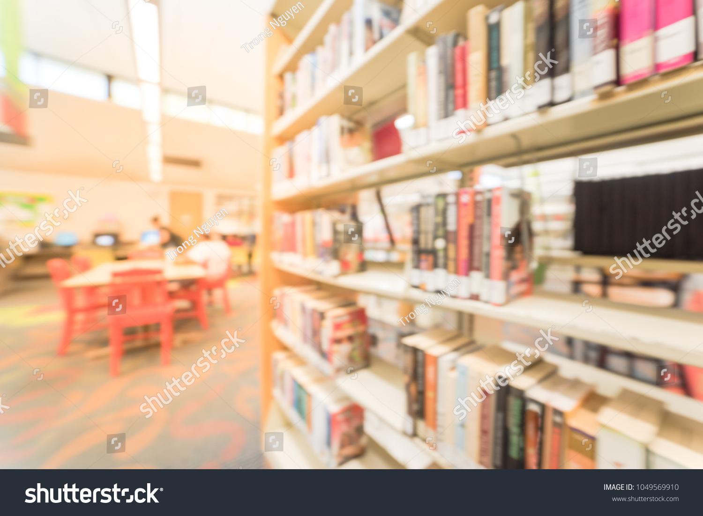 Blurred Motion Aisle Bookshelf Reading Area Stock Photo