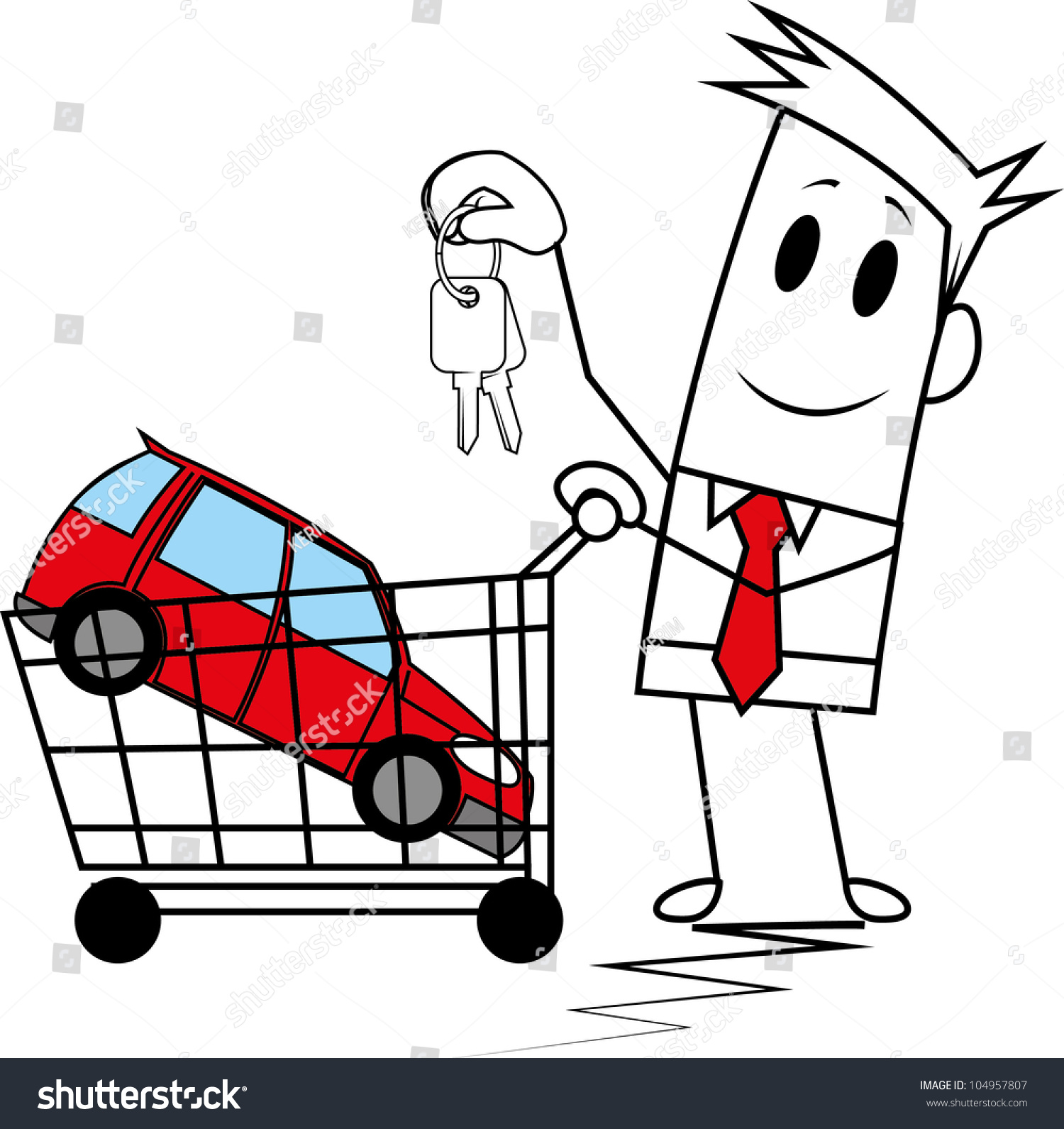 Square Guy Buying Car Stock Vector 104957807