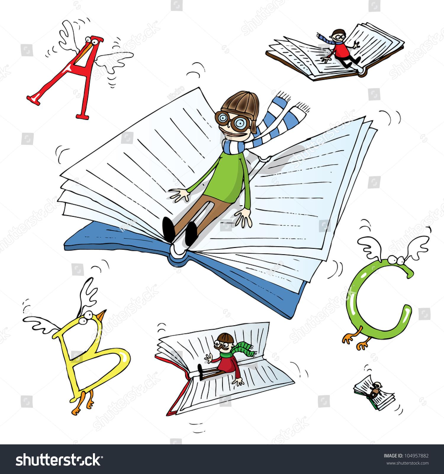 Flying Books Stock Vector 104957882 - Shutterstock
