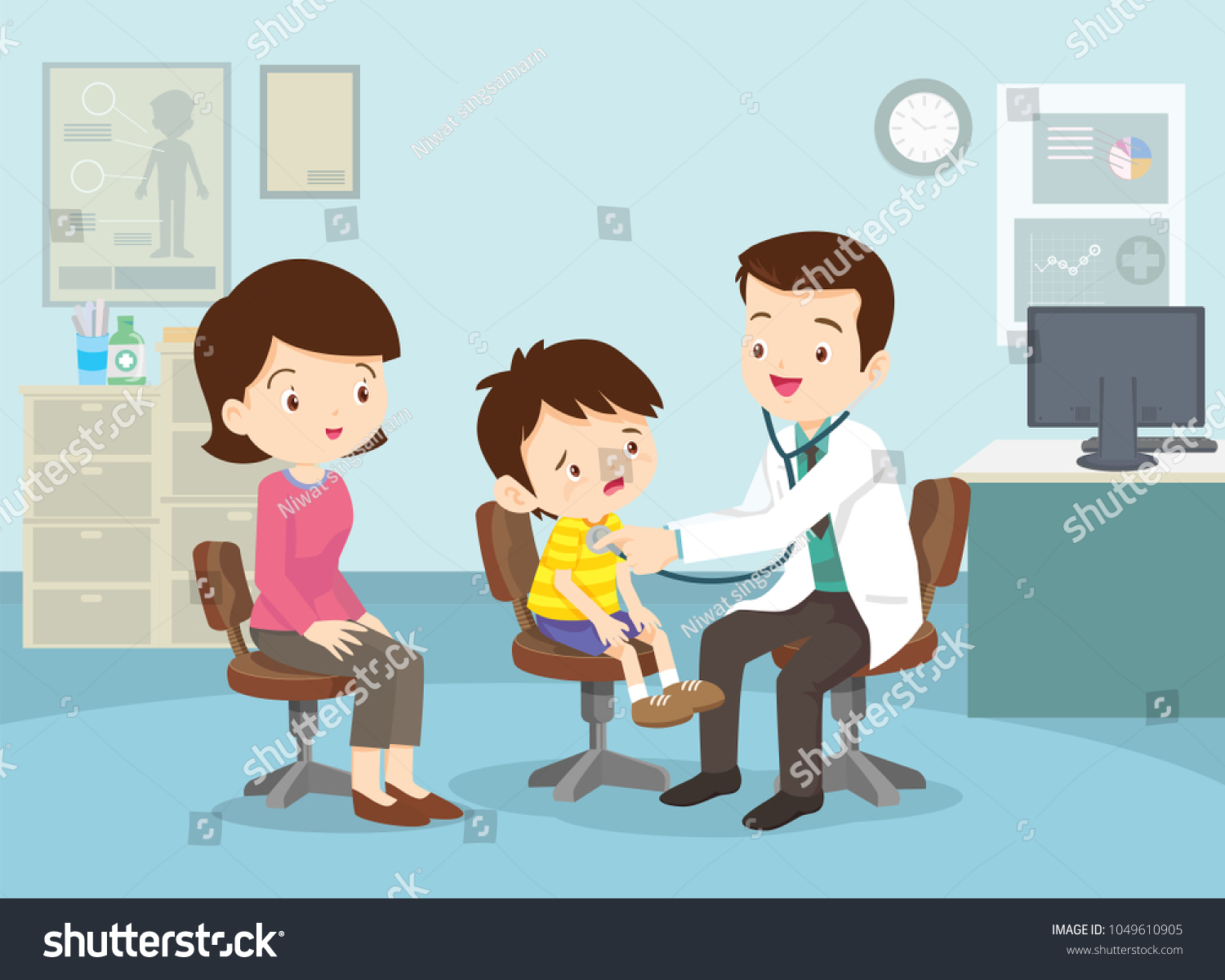Mom Boy See Doctor Sitting Table Stock Vector Royalty Free
