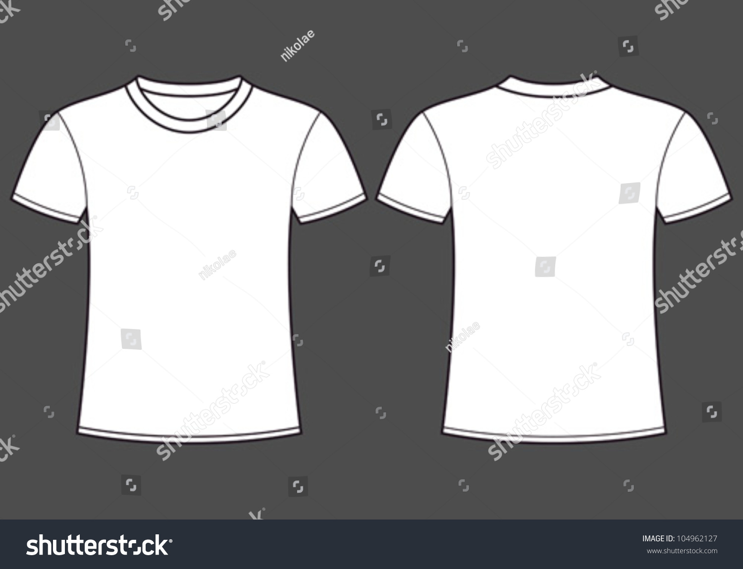 Blank tshirt template front back stock vector 104962127 for White t shirt template front and back