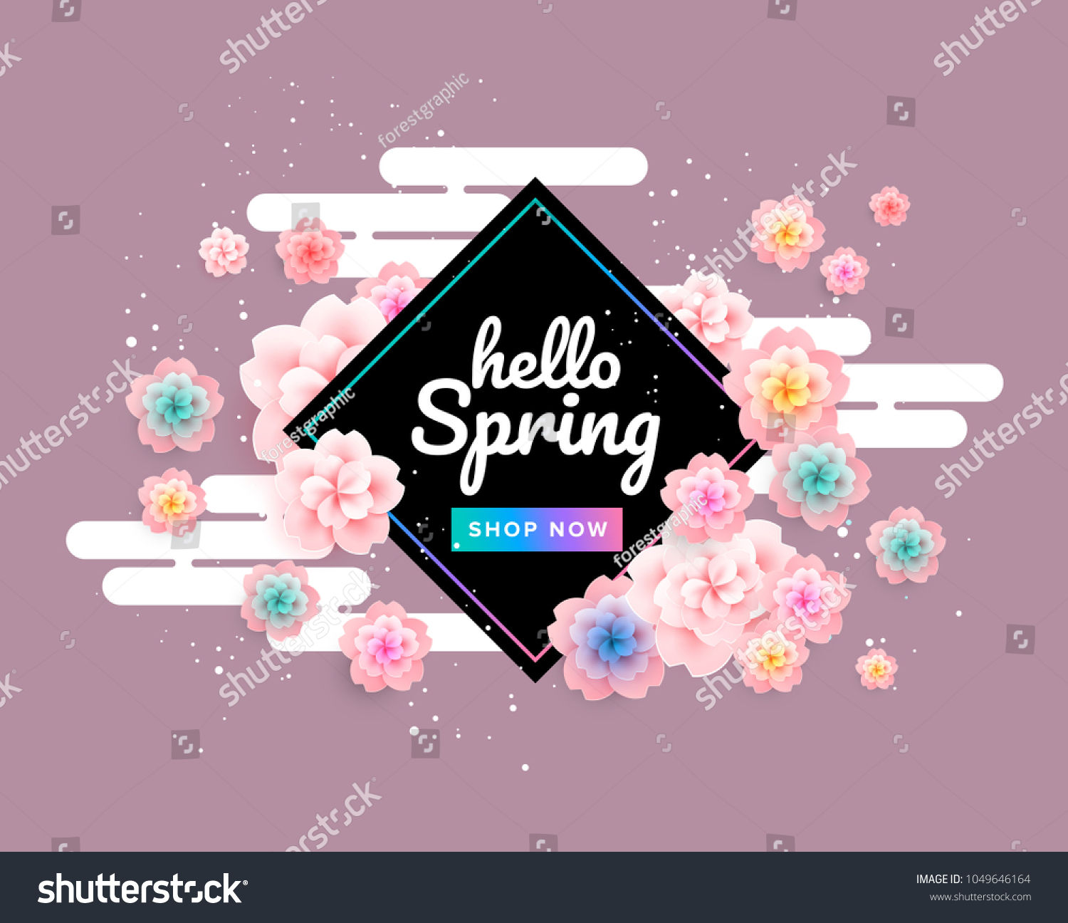 Pink Spring Background Beautiful Flowers Cherry Stock Vector Royalty Free 1049646164