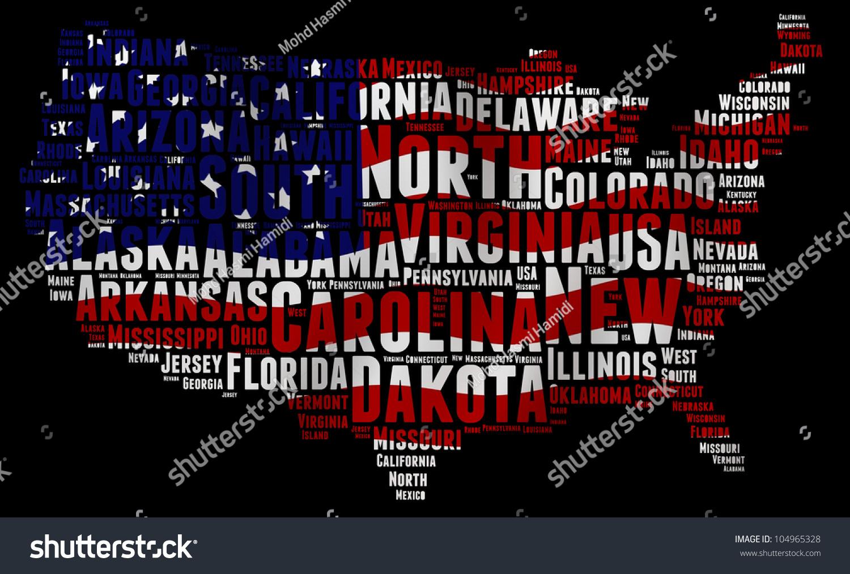 United States Map Words Cloud Major Stock Illustration 104965328