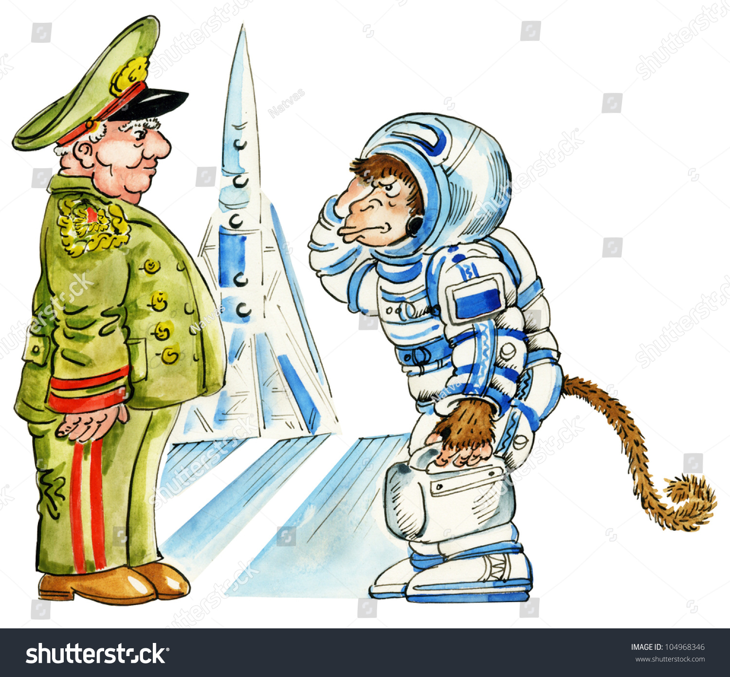 Cartoon Monkey Astronaut Space Suit By Stock Illustration ...