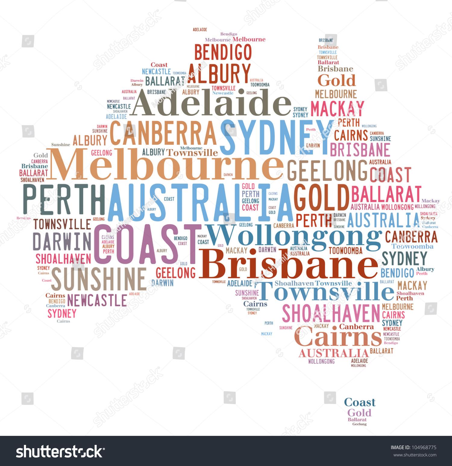 Australia Map Major Cities.Australia Map Words Cloud Major Cities Stock Illustration 104968775