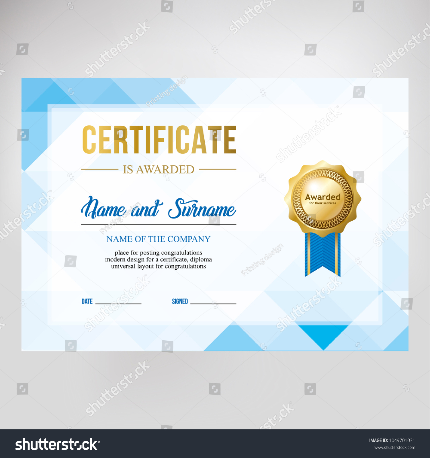 Gift Certificate Diploma Template Background Modern Stock Vector