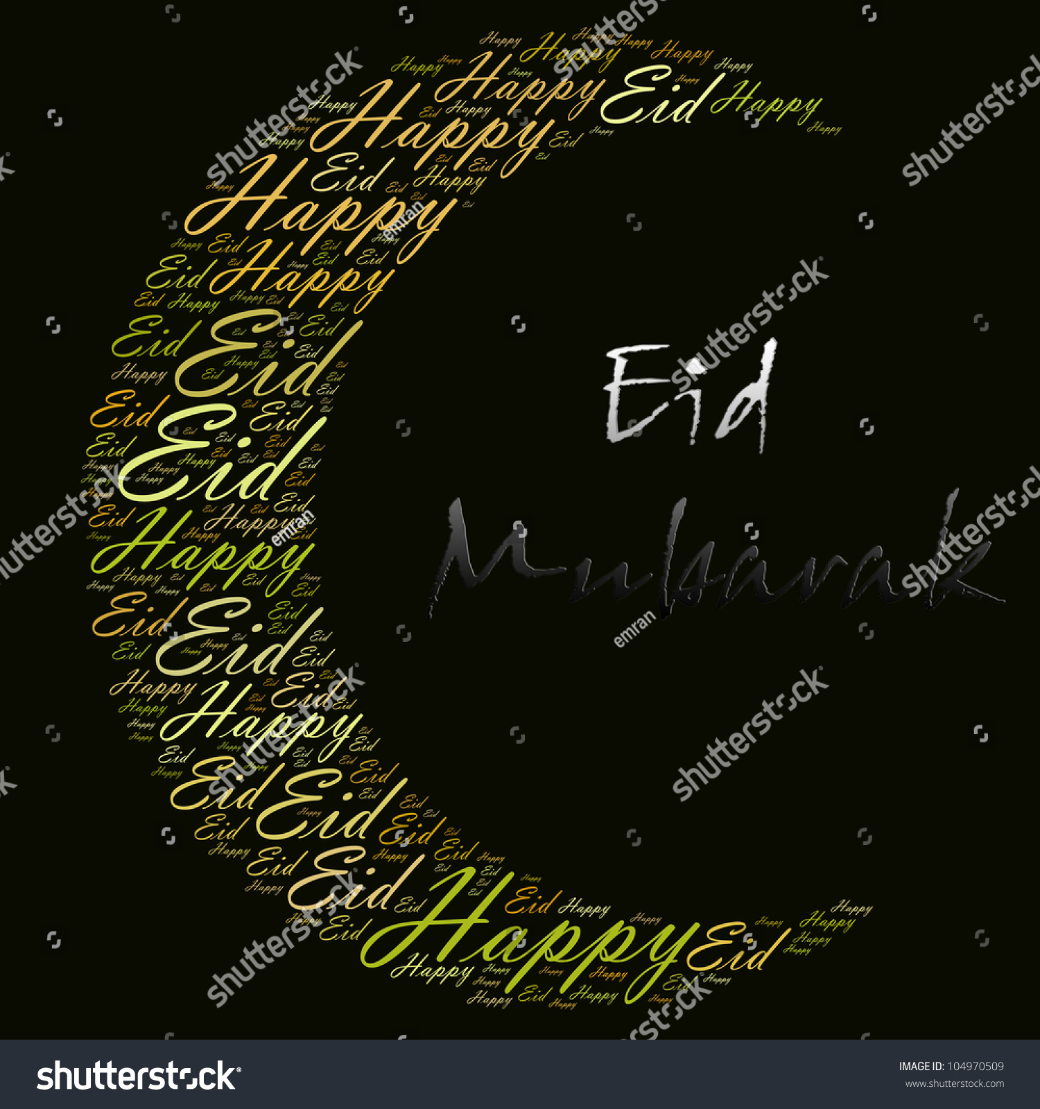 Happy eid greeting word cloud composed stock illustration 104970509 happy eid greeting word cloud composed in the shape of new moon crescent eid is m4hsunfo