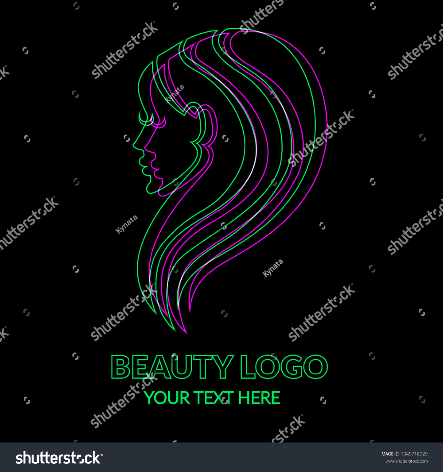Vector Illustration Logos Neon Woman Beautiful Stock Vector Royalty