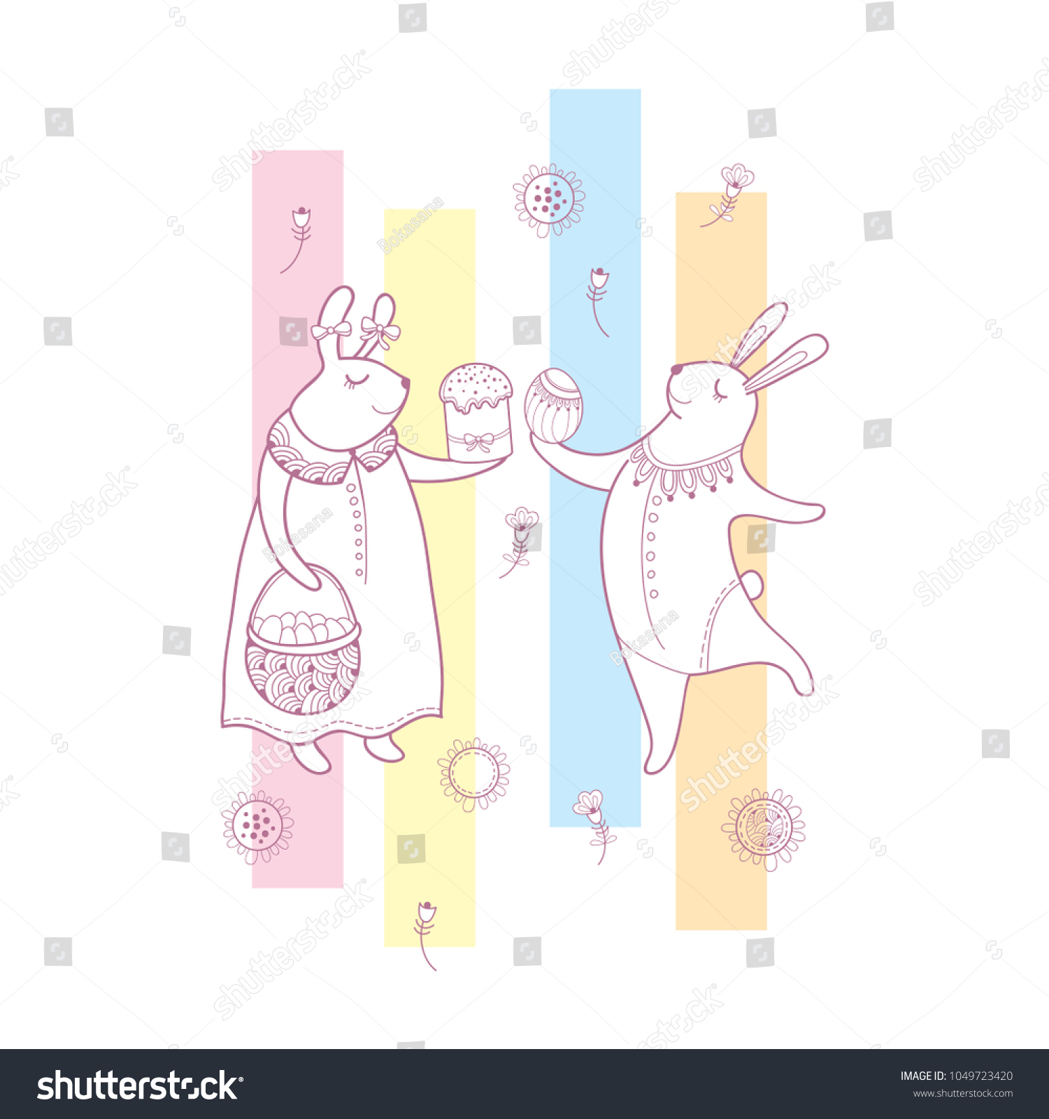 Vector easter greeting card outline rabbit stock vector 1049723420 vector easter greeting card with outline rabbit couple traditional easter symbol and stripes in pastel m4hsunfo Images
