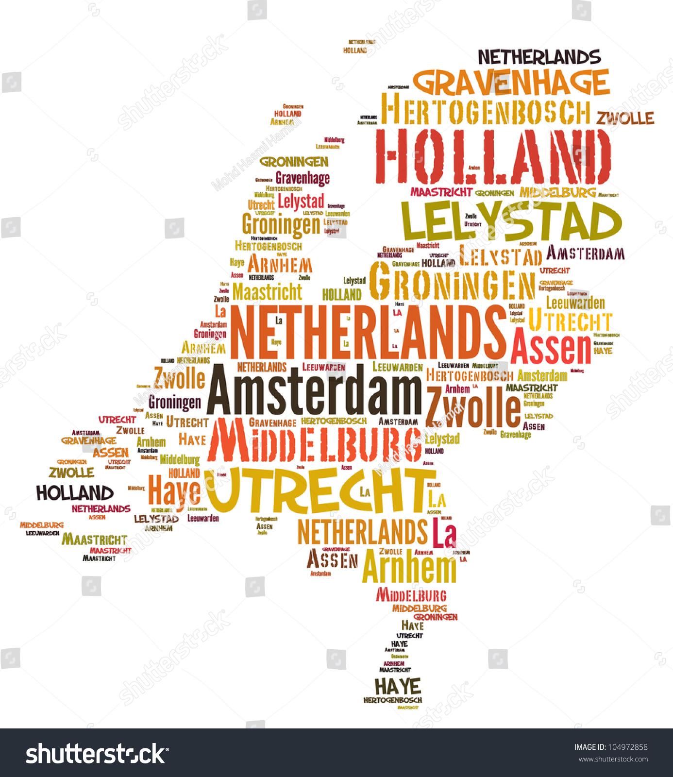 netherlands map words cloud major cities stock illustration
