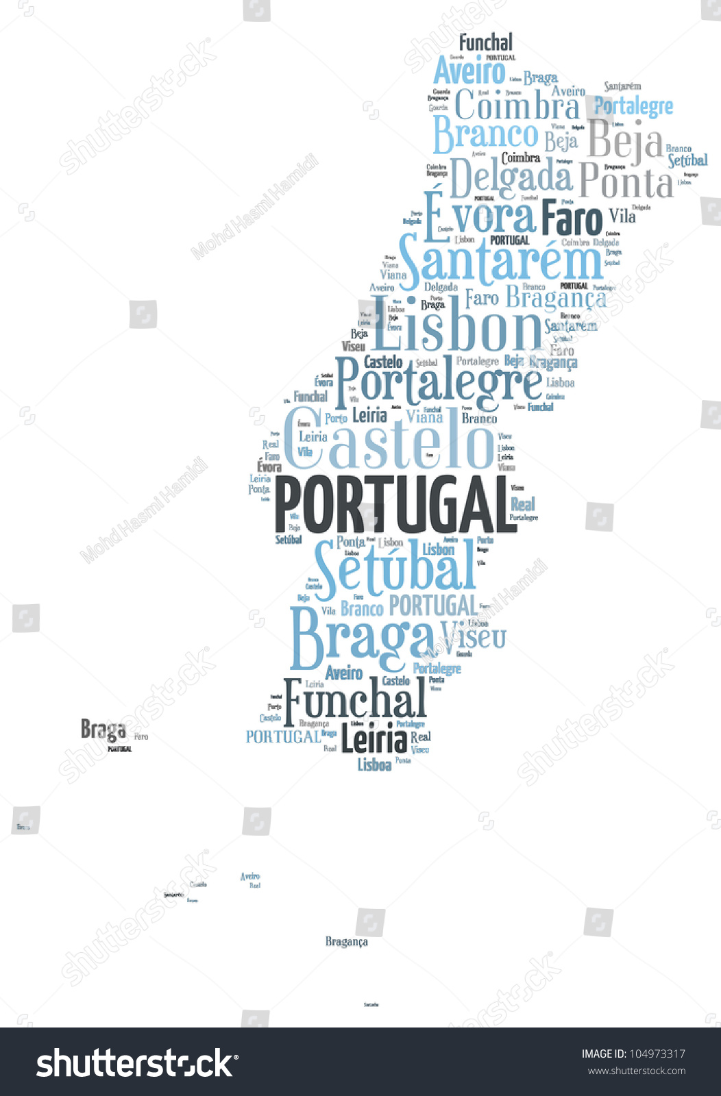 Portugal Map Words Cloud Major Cities Stock Illustration - Portugal map major cities