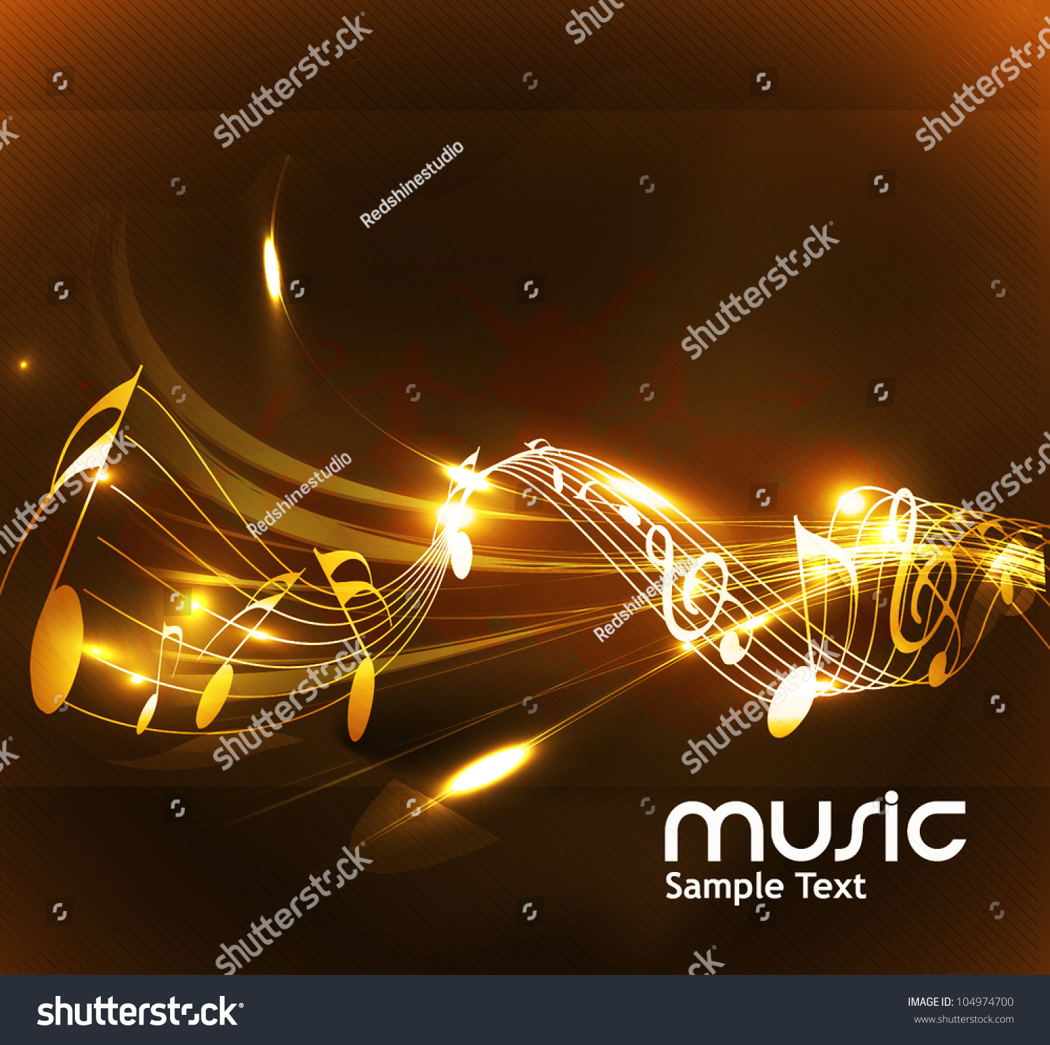 Copyright Symbol In Golden Color: Abstract Music Notes Design For Music Background Use