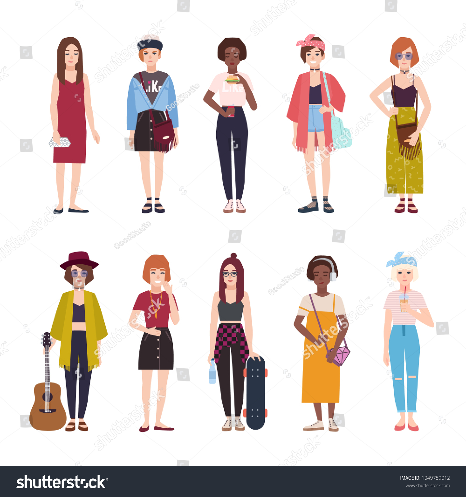 Collection Teenage Girls Dressed Trendy Clothing Stock Vector