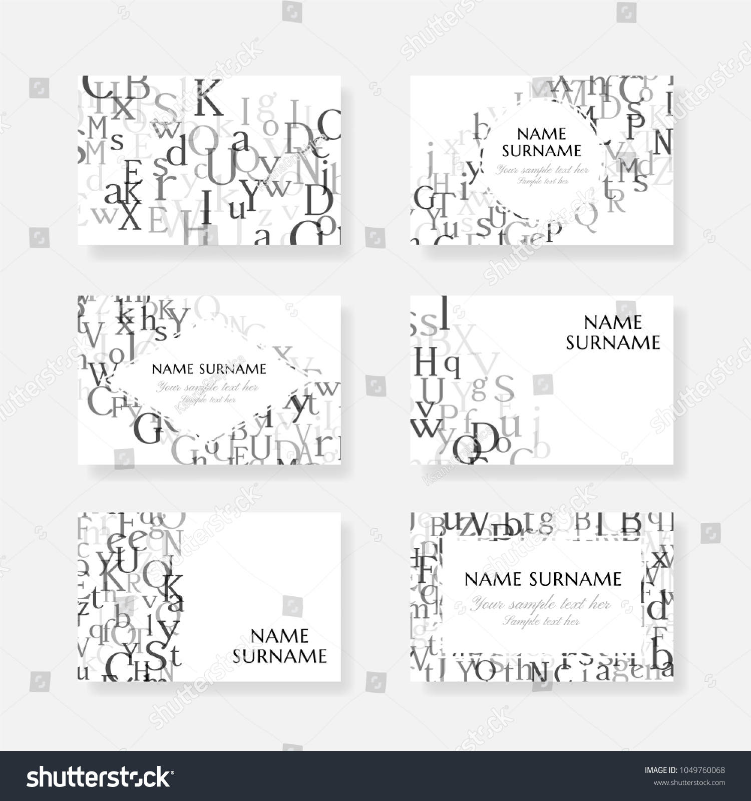 Letters English Alphabet Design Collection Vector Stock