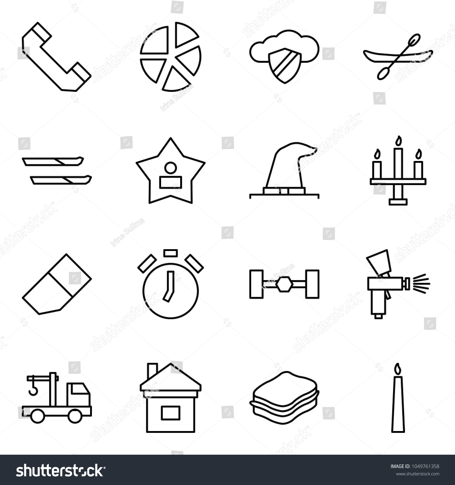 Flat Vector Icon Set Phone Horn Stock Royalty Free Diagram Chandelier Graph Cloud Safe Canoe