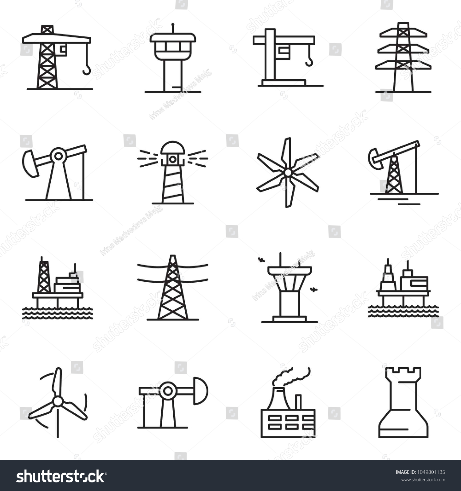 Thin Line Icon Set Oil Jack Stock Vector Royalty Free 1049801135
