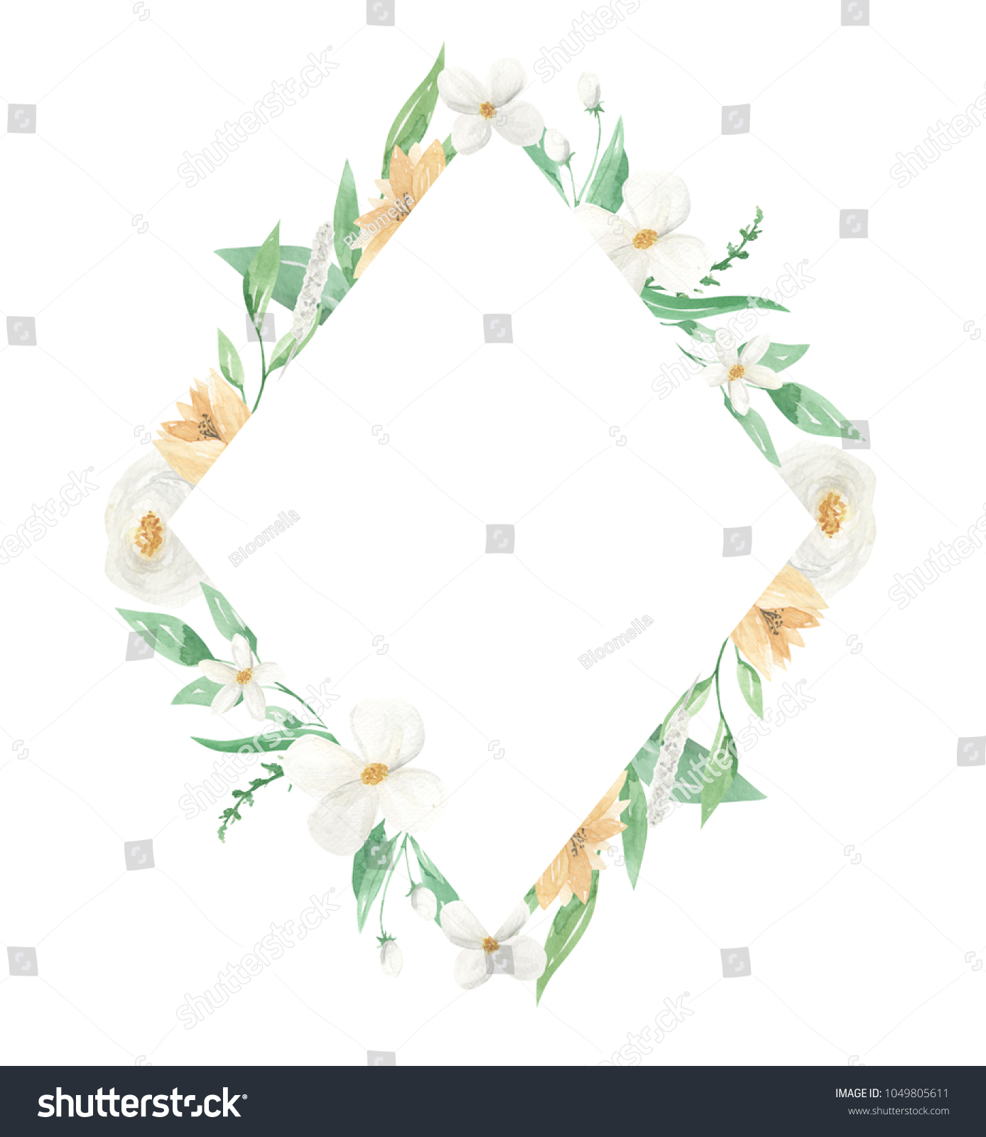 Watercolor Floral White Flower Frame Diamond Stock Illustration